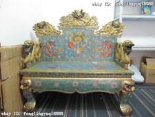 China 100% Pure Bronze handwork cloisonne regius palace Nine Dragon tablet chair