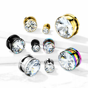 PAIR Large Clear or AB Gem PVD Plated Screw Fit Tunnels Ear Plugs Earlet Gauges