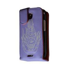 housse coque étui violet motif tête de mort pour Samsung Galaxy Teos i5800 / Gal