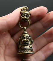 58MM Collect Small Curio Chinese Bronze Human Skeleton Head Cross Wealth Pendant