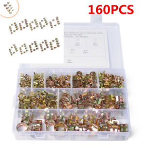 160PCS 8 Sizes 6-17mm Spring Clips Fit For Car Air Tube Fuel Line Water Pipe