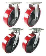 "8"" x 2"" Red Polyurethane on Cast Iron Casters -  2 Swivels and 2 Rigids"