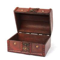2PCS Retro Wooden Jewelry Storage Case Box Antique Storage Organizer