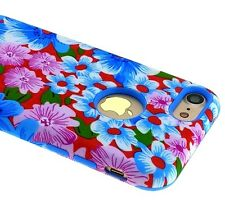 For iPhone 7 - HARD TPU RUBBER HYBRID ARMOR SKIN CASE COVER BLUE RED PINK FLOWER