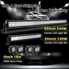 "42inch + 24in LED Light Bar + 4x 4"" LED CREE Pods ATV SUV 4WD Offroad Truck Jeep"