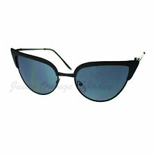 Bolded Top Cateye Metal Frame Sunglasses Women's Fashion Black