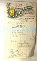 1905 Colman Mustard Advertising Grocery Bill Bashall Eaves Nr Clitheroe store
