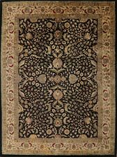 Assorted AllOver Floral BLACK/BEIGE Agra Oriental Area Rug Hand-tufted Wool 9x12