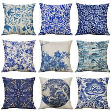 "18"" Blue And White Cotton linen Painting Pillow Case Cushion Cover Home Décor"