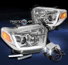 2014-2017 TOYOTA TUNDRA CHROME PROJECTOR LED BAR HEAD LIGHT+SIGNAL DRL+6000K HID