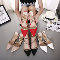Rock Studs Flats Red Strappy Pointy D'orsay Rivets Walking Women Shoes Plus Size