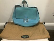 Fendi Selleria Mama Forever Bag in Turquoise Blue Grained Leather.   KT