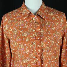 Orvis Ruffle Placket Floral Shirt Womens 14 Large Wrinkle Free Top Blouse Orange