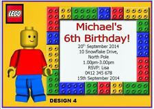 1 x LEGO BOYS PERSONALISED CHILDRENS BIRTHDAY PARTY INVITATIONS + FREE MAGNETS