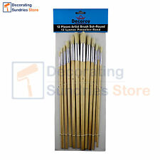 Decoroy Round Fitch Artist Paint Brush Set 12 Piece | Sizes 1 to 12 Brush Pack