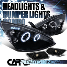 Ford 00-04 Focus Halo LED Projector Headlights+Bumper Side Marker Black