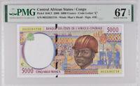 Central African States Congo 5000 Francs 2000 P 104 Cf Superb Gem UNC PMG 67 EPQ