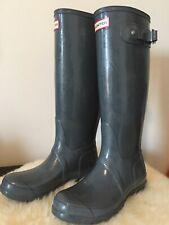 HUNTER Women's Original Tall Boots Color Gray Size US 6 UK 4 EU 37