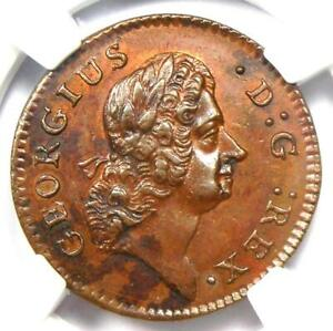 1723 Woods Hibernia DG Farthing Coin 1/4P - NGC MS62 (BU UNC) - $850 Value!