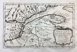 1773 Bellin Map of CANADA NOVA SCOTIA St. Lawrence River Quebec