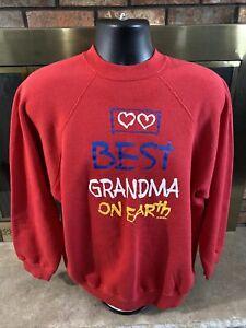 Vintage Best Great Grandma On Earth Raglan Red Sweatshirt Mens Sz XL Tultex Vtg