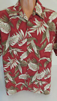 Pierre Cardin Large Hawaiian Shirt  Red Palm Leaves Short Sleeve 100%Cotton