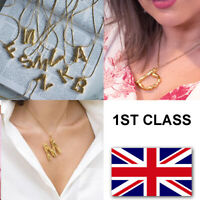 Letter Initial Alphabet Pendant Necklace Brass Gold A-Z UK Seller