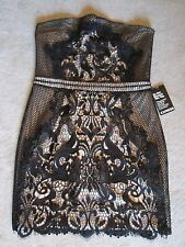 WOMENS EXPRESS BLACK NUDE LACE EMBROIDERED GORGEOUS STRAPLESS DRESS SIZE 8 NWT