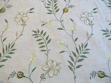 FAB PK LIFESTYLES LYNDHURST EMBROIDERED GREEN FLORAL DRAPERY FABRIC OUTLET BTY