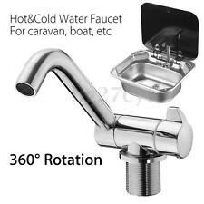 360° Rotation Hot & Cold Water Kitchen Faucet Tap Foldable For Caravan Boat RV