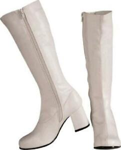 White Go Go 60s 70s 80s Disco Boots Small