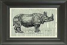 ORIGINAL - Rhino - Vintage Dictionary Art Print - Animal Wall Art - NO.26D