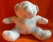"""Mothercare Blue and White Teddy Bear Soft Toy Comforter Cotton Chequered 8"""""""