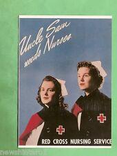 IMAGES OF WAR POSTER CARD - WWII, UNCLE SAM NEEDS NURSES