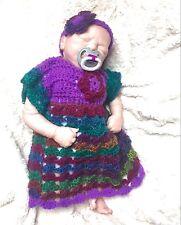 HANDMADE newborn 0-3 months baby hippie crochet knit dress headband set Romany