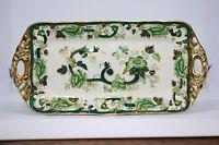 Mason's Chartreuse Ironstone England Antique Handled Green Platter serving VTG