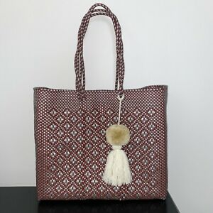 Brown Silver beach tote plastic shopping handwoven Bag With pom Tassel