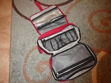 Travel Hanging Toiletry Bag Makeup Organizer Folding Red, black, and gray