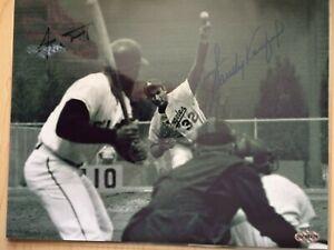 Willie Mays, Sandy Koufax Autograph 8x10 B&W Photo w/coa