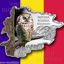 TENGMALM'S OWL - 2013 Andorra - MAP SHAPED Colorized .999 SILVER COIN + BOX/COA