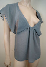 VANESSA BRUNO Pale Grey Plunge V Neck Lace Insert Cap Sleeve Top FR40 UK12
