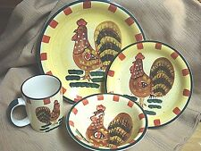 Style-Eyes RED CHECK ROOSTER Dinnerware by Baum Bros - 4 Pc Place Setting