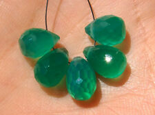Green Onyx Faceted Teardrop Briolette Gemstone Beads