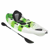 KAYAK SIT ON TOP FISHING SEA RIVER LAKE KAYAKS DELUXE SEAT & PADDLE SET - GREEN