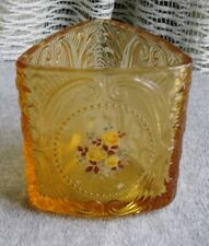 Vintage Amber Glass Triangular Dish or Vase with Rose Decal Pressed Glass