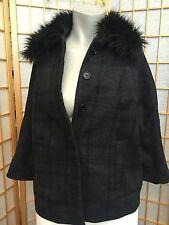 Loft Ann Taylor Gray Wool Faux Fur Cropped  Winter Coat Jacket Womens Size XS
