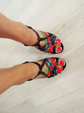 Topshop 70's Vintage Bright Woven Wood Leather Strappy Sandals heels 37 4