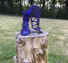 Sergio Rossi Electric Blue Suede Cage Sandal Size 37