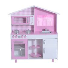 HOMCOM  Cucina Giocattolo per Bambini con Accessori in Legno 110x32.5x99.5cm