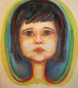 1973 Abstract girl portrait watercolor and pastel drawing